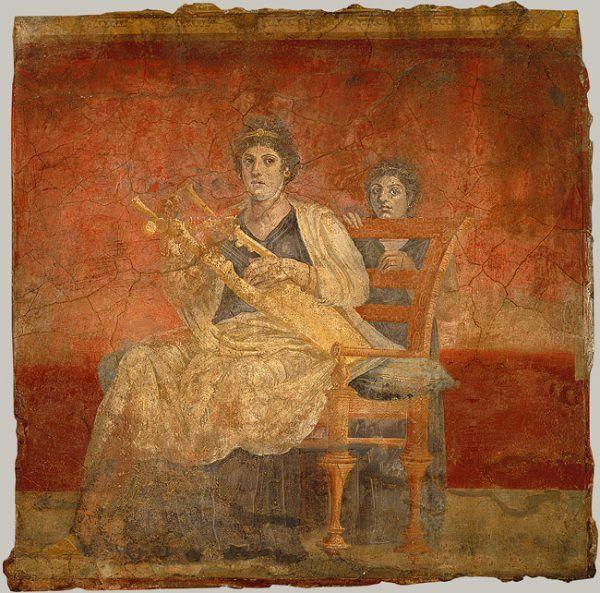 Siedzenie w domu i brzdąkanie na kitarze – oto właściwe zajęcie dla rzymskiej matrony (fresk z I w. p.n.e.).