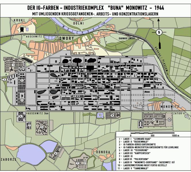 Plan zakładów IG Farben Buna-Werke (autor: Heromax; lic. CC ASA 3.0).