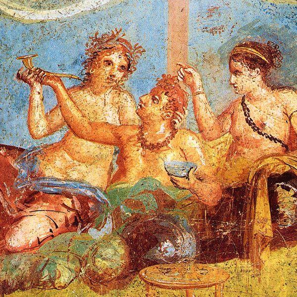 Rzymski bankiet na fresku z Pompejów.