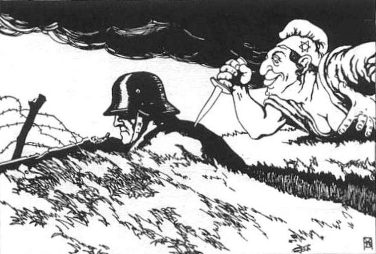 """Mit """"ciosu w plecy"""" rzekomo zadanego Niemcom przez Żydów, stał się jednym z fundamentów teorii głoszonych przez Hitlera (źródło: domena publiczna)."""
