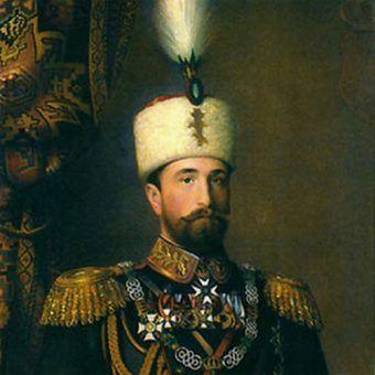 Książę Bułgarii Aleksander I Battenberg na obrazie Konrada Dilitza (źródło: domena publiczna).