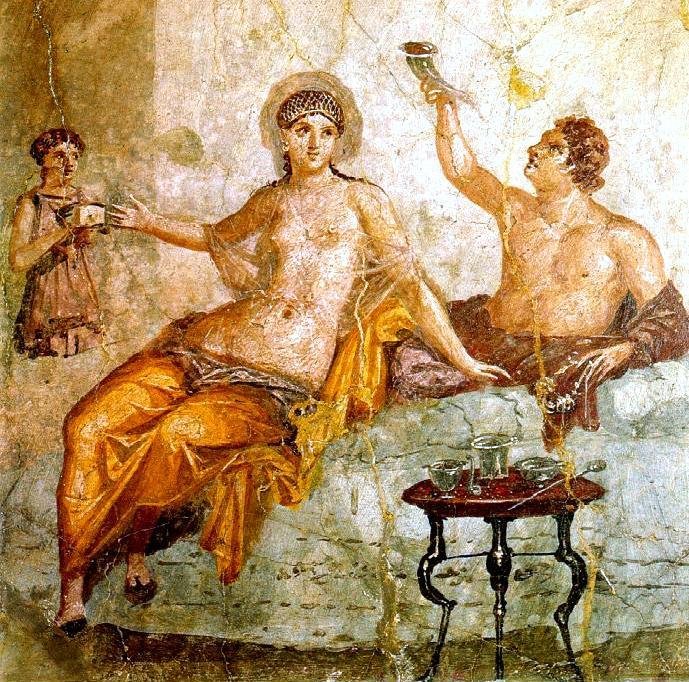 Muszę wypić to wino za ciebie, Terencjo, wy kobiety nawet bez alkoholu robicie same głupstwa… (fresk z Herkulanum).