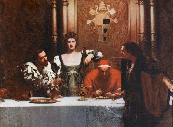 """Lukrecja z ojcem-papieżem i bratem. Stoi między swoimi kochankami, czy ludźmi, którzy wykorzystywali ją dla swych politycznych celów? Obraz """"Puchar wina z Cezarem Borgią"""" Johna Colliera."""