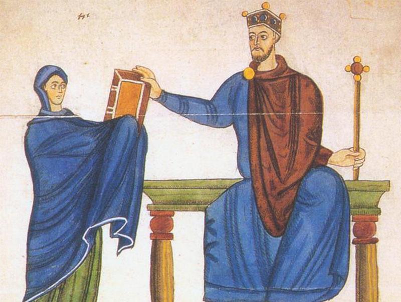 Mieszko II podczas przejmowania kodeksu z rąk Matyldy szwabskiej. Wiedza i umiejętności króla na nic się zdały w obliczu wyzwań, wobec których przyszło mu stanąć (źródło: domena publiczna).
