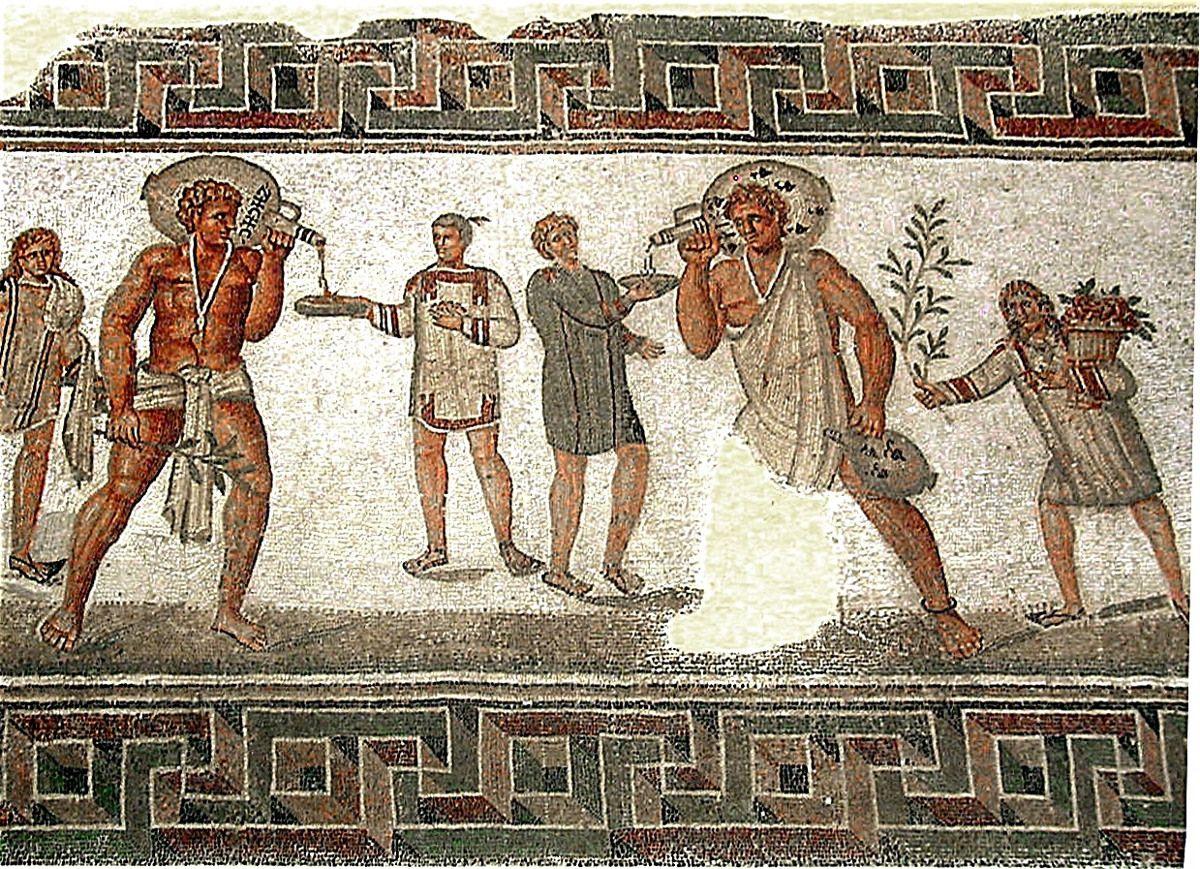 Rzymscy niewolnicy usługujący swym panom na mozaice z II w. n.e.