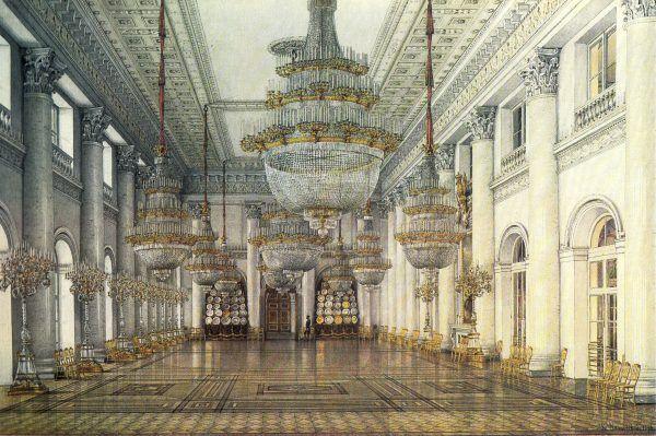 Sala Mikołaja w Pałacu Zimowym, gdzie odbywały się bale organizowane przez carów. W czasie I wojny światowej służyła jako sala szpitalna (obraz Konstantina Andriejewicza Uchtomskiego).