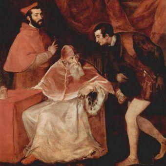 Papież Paweł III ze swoimi dwoma wnukami - kardynałem Aleksandrem i księciem Oktawianem na obrazie Tycjana (źródło: domena publiczna).