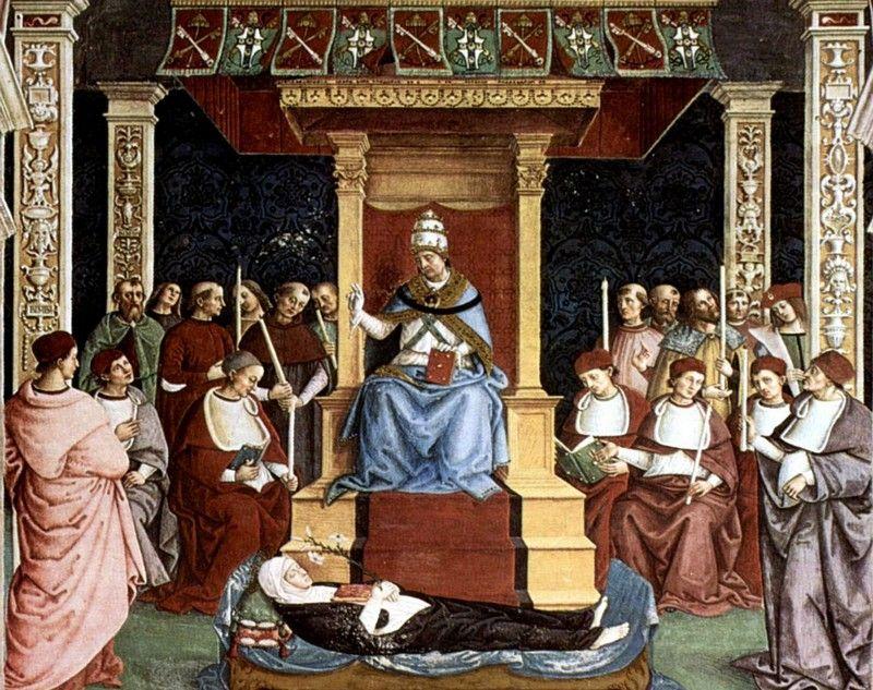 Papież Pius II podczas kanonizacji Katarzyny ze Sieny. Ciekawe, czy myślał podczas tej uroczystości o swej rozpustnej młodości (źródło: domena publiczna).