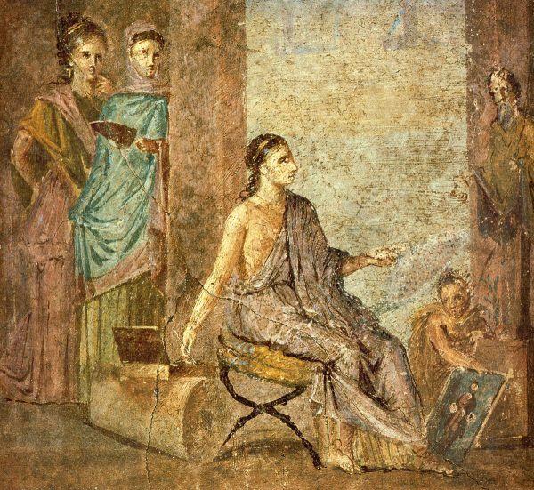 Rzymska artystka przy pracy (fresk z Pompejów).
