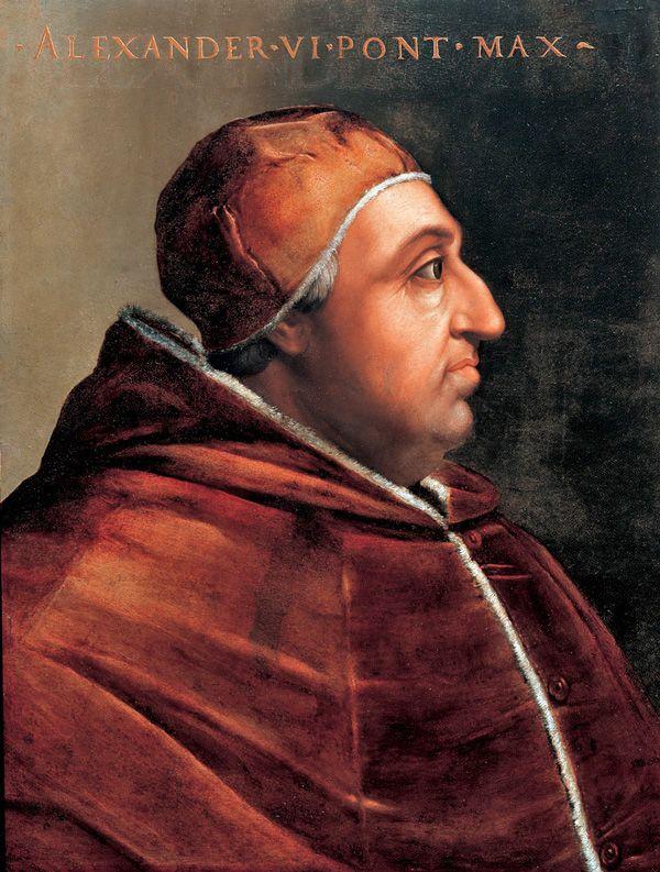 Papież Aleksander VI. Za jego pontyfikatu kardynałowie wcale nie padali jak muchy (obraz Cristofano dell'Altissimo, źródło: domena publiczna).