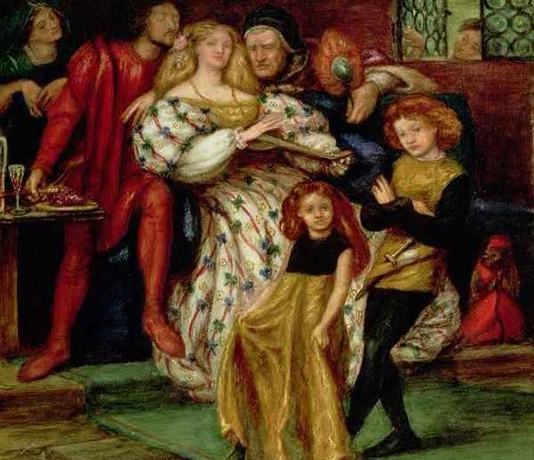 Tak XIX-wieczny artysta Dante Gabriel Rossetti wyobrażał sobie radość na papieskim dworze z zamordowania drugiego męża Lukrecji. Wbrew temu wizerunkowi papieska córka nie cieszyła się ze śmierci Alfonsa (źródło: domena publiczna).