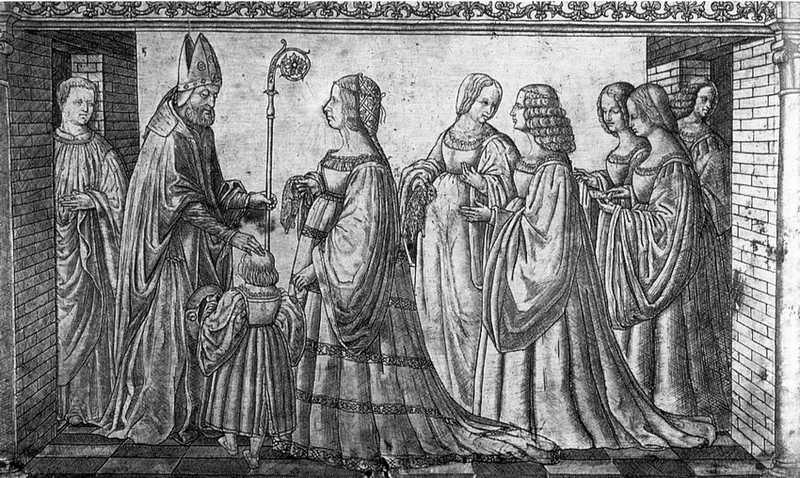 Kolejny symbol pobożności Lukrecji - księżna Ferrary przedstawia swego synka Herkulesa patonowi miasta, świętemu Maureliuszowi (grawerowana srebrna tablica autorstwa Giannantonio da Foligno, domena publiczna).