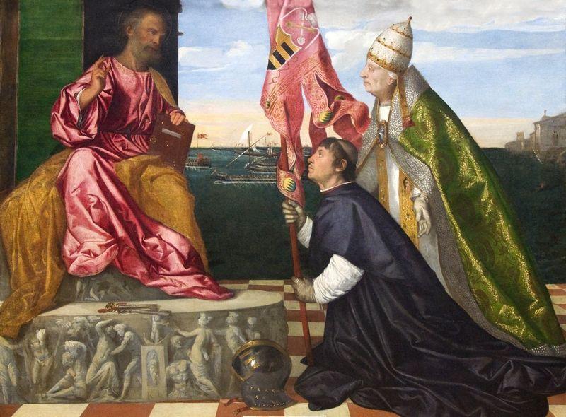 Ojciec Lukrecji na obrazie Tycjana prezentuje Jakuba Pesaro świętemu Piotrowi. Czyżby płynące w tle statki symbolizowały też jego marzenie o urlopie? (źródło: domena publiczna)