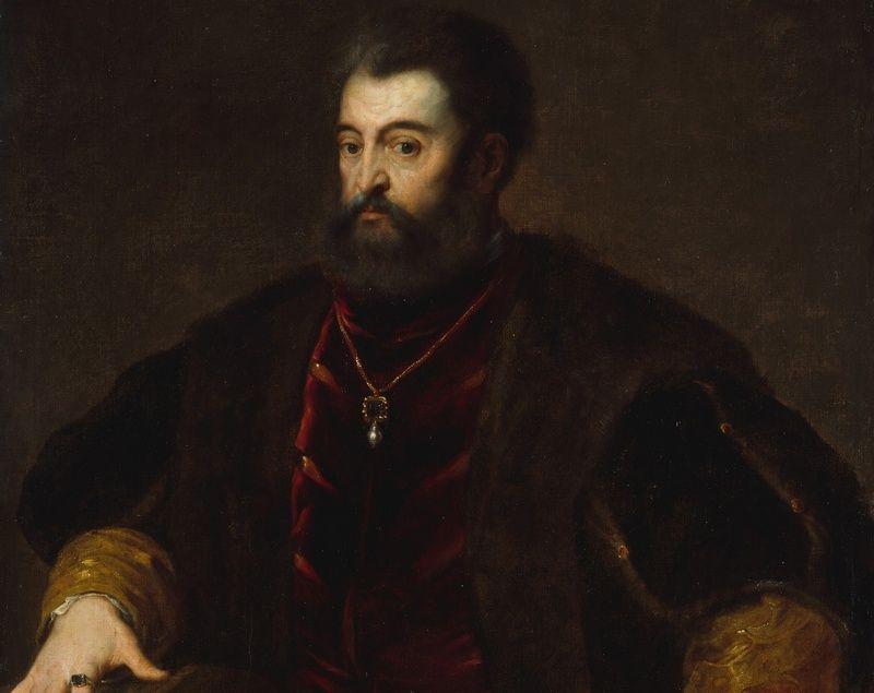 Mąż Lukrecji, Alfons I d'Este, mógł spokojnie wybierać się na wojnę wiedząc, że żona zajmie się Ferrarą jak nikt inny (kopia portretu pędzla Tycjana, domena publiczna).
