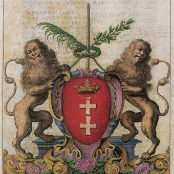 Czy Gdańsk powstał kilkadziesiąt lat później niż sądzono? (il. herb Gdańska na wyobrażeniu z XVII wieku).
