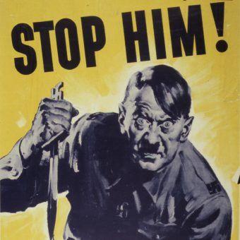 Czy Hitler mógł zapobiec swej ostatecznej klęsce? (il. amerykański plakat propagandowy z czasów II wojny światowej, domena publiczna).