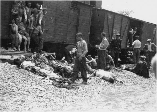 27 czerwca 1941 roku żołnierze rumuńscy zainicjowali pogrom w Jassach, w czasie którego zabitych zostało przynajmniej 8 tys. Żydów. Kolejnych 5 tys. pognano do pociągu towarowego i przez 8 dni wożono bez celu po okolicznych terenach. Wielu zmarło z głodu, pragnienia i braku powietrza (fot. Cartea Neagră, domena publiczna).