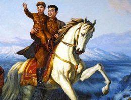 Kim Ir Sen z Kim Dzong Ilem. Obraz propagandowy.