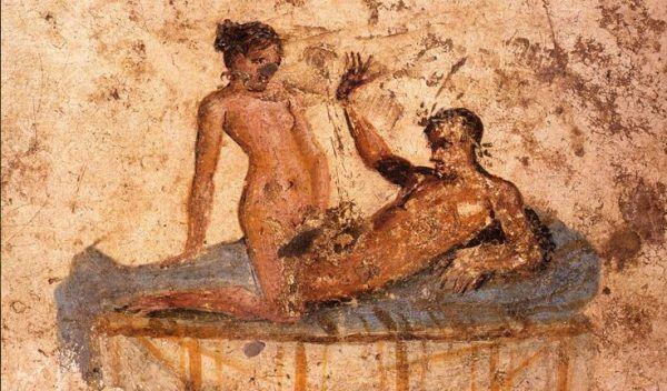 Seks przy świetle i bez ubrań? Tylko w burdelu! (fresk z lupanaru w Pompejach).