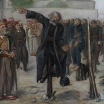 Obraz serbskiego malarza przedstawiający nabijanie na pal. W przeciwieństwie do sienkiewiczowskiego, prawdziwy Azja Tuhajbejowicz nie zginął w ten sposób (domena publiczna).
