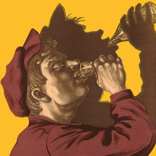 Radziecki plakat propagandowy. Głosił: Każda rzeka zaczyna się od małęgo strumyka, a pijaństwo od kieliszeczka.