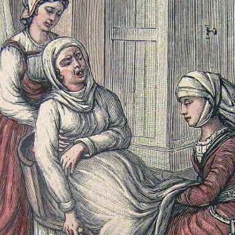 Poród w XVIII wieku. Niewiele się przez 200 lat zmieniło (źródło: domena publiczna).