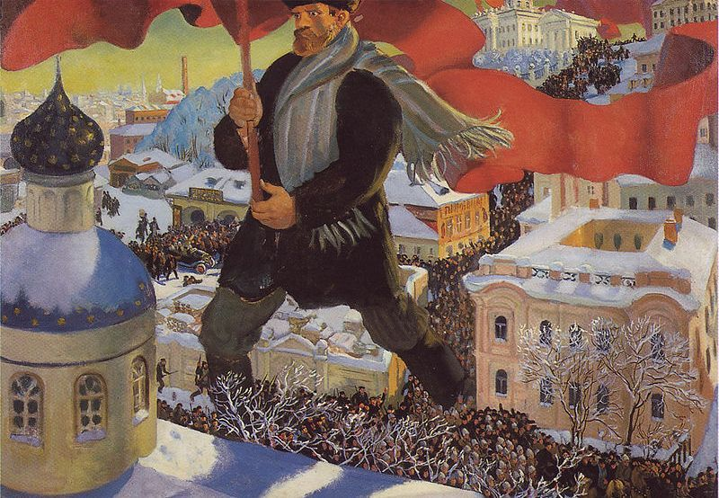 """Nawet bezwzględnym bolszewikom trudno było zapanować nad pijanym tłumem (na ilustracji obraz """"Bolszewik"""" Borisa Kustodijewa)."""