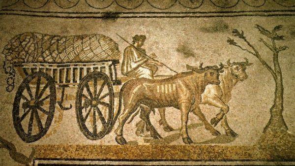 Bogaci Rzymianie lubili uciekać na wieś, ale pracą fizyczną się brzydzili (mozaika z II w. n.e.).