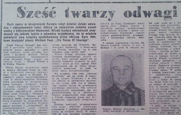 Sześć twarzy odwagi - pierwszy pozytywny artykuł o Pileckim w powojennej prasie.