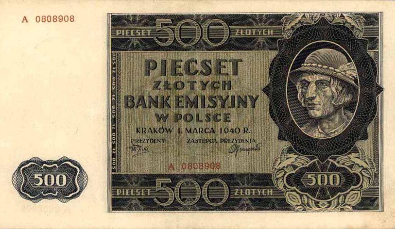 Armia Krajowa wypłacała swoim żołnierzom nawet zasiłki chorobowe. Miesięcznie było to 450 złotych. Na ilustracji 500 złotych z czasów okupacji, czyli tak zwany góral (źródło: domena publiczna).