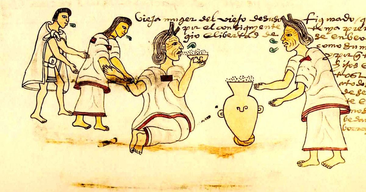 Starsze osoby mogły spokojnie pić octli (rys. z Kodeksu Mendoza, domena publiczna).