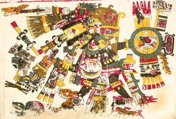 Tezcatlipoca na rysunku z Kodeksu Borgia (domena publiczna).