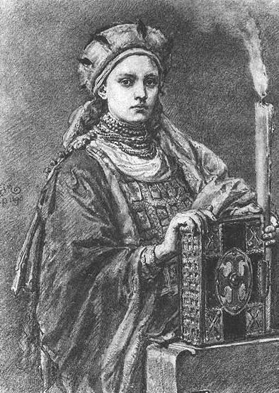 Według najpopularniejszej nad Wisłą wersji historii Świętosławy, miała ona być córką Mieszka i Dobrawy (źródło: domena publiczna).