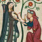 """Trzydziestoletnia wdówka Dobrawa niekoniecznie cieszyła się ze swojego małżeństwa z Mieszkiem... Na ilustracji scena z niemieckiego """"Kodeksu Manesse""""."""