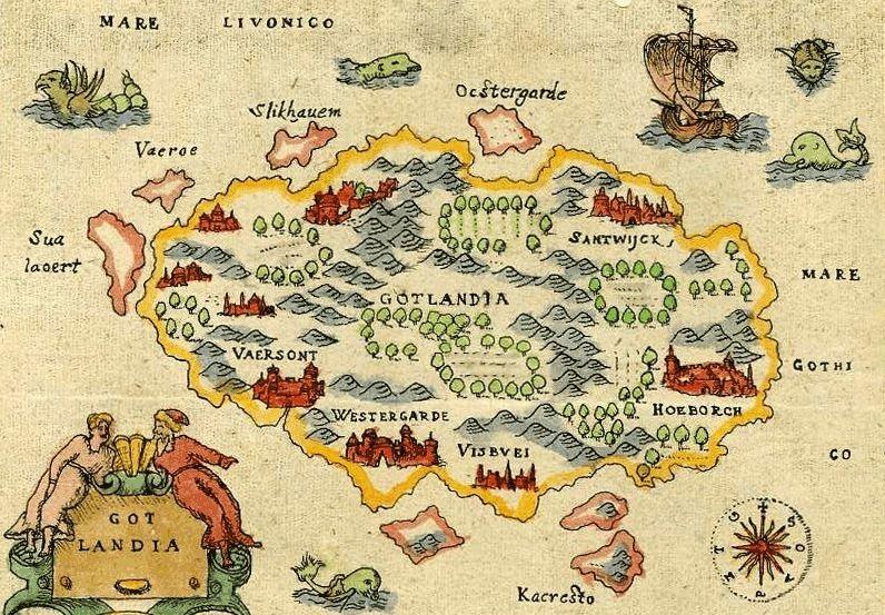 Gotlandia na mapie z drugiej połowy XVI wieku. Na właśnie na tej wyspie miała osiąść Sygryda (źródło: domena publiczna).