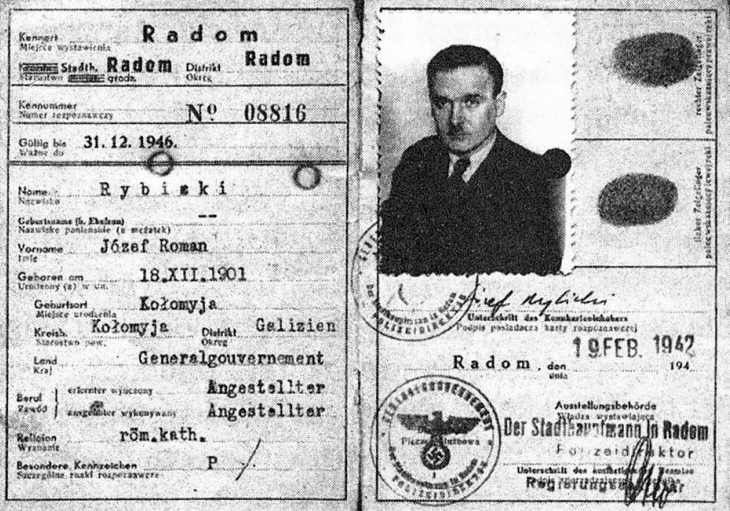 """Józef Rybicki """"Andrzej"""" był zdecydowanie jednym z najlepiej opłacanych żołnierzy Armii Krajowej. Na zdjęciu kenkarta Rybickiego wydana w lutym 1942 roku (źródło: domena publiczna)."""