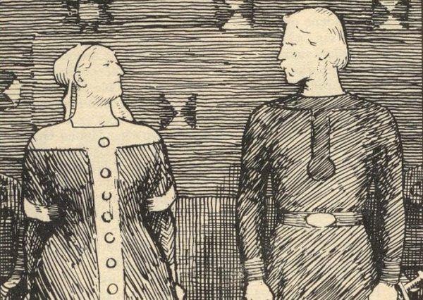 Oto Świętosława i jej niedoszły mąż Olaf Tryggvason. Tylko czy aby na pewno? XIX -wieczny rysunek Erika Werenskiolda (domena publiczna).