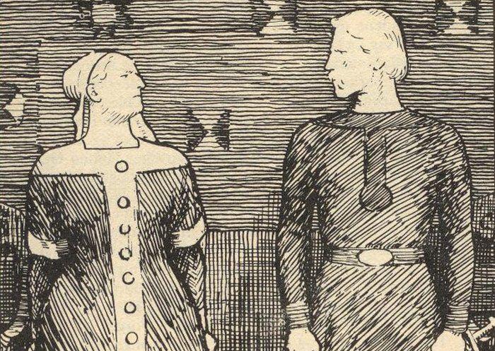 Sygryda i jej niedoszły mąż Olaf Tryggvason na XIX -wiecznym rysunku Erika Werenskiolda (źródło: domena publiczna).