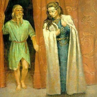 Rozpowszechniony w polskim Internecie rzekomy wizerunek Świętosławy. Tak naprawdę XIX-wieczny obraz przedstawia scenę z nordyckiej mitologi i widać na nim boga Njorda i jego wybrankę Skadi (źródło: domena publiczna).