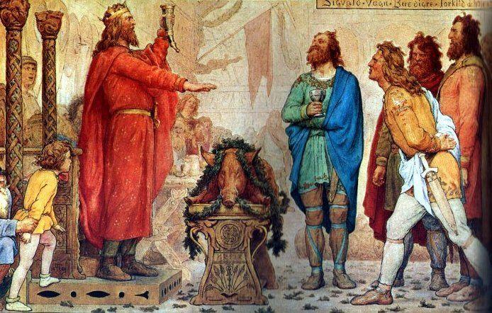 Swen Widłobrody na XIX-wiecznej ilustracji. Ten duński władca najprawdopodobniej rzeczywiście był mężem córki Mieszka. Tyle tylko że ona wcale nie miała na imię Świętosława (źródło: domena publiczna).