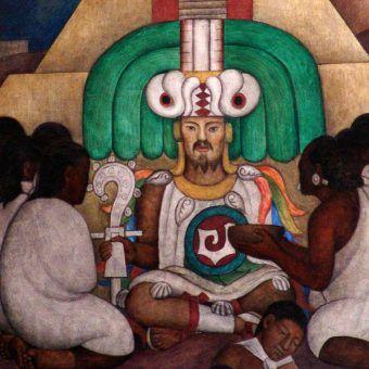 Współczesne przedstawienie Topiltzina Quetzalcoatla, któremu octli przysporzyło niemałych kłopotów (mural autorstwa Diego Rivery, fot. O.Mustafin, domena publiczna).