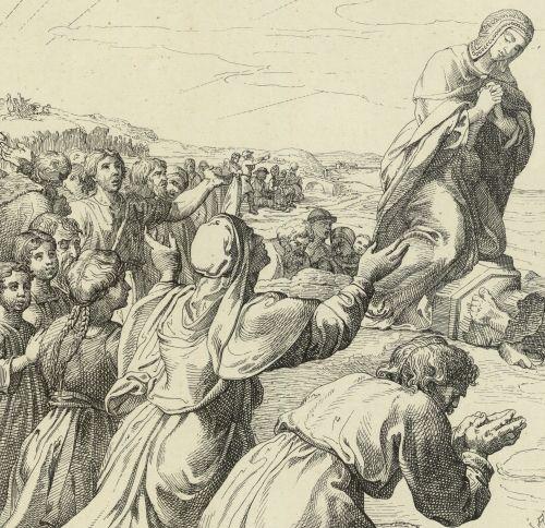 Dobrawa jako chrystianizatorka Polski. Rysunek na podstawie XIX-wiecznej litografii.