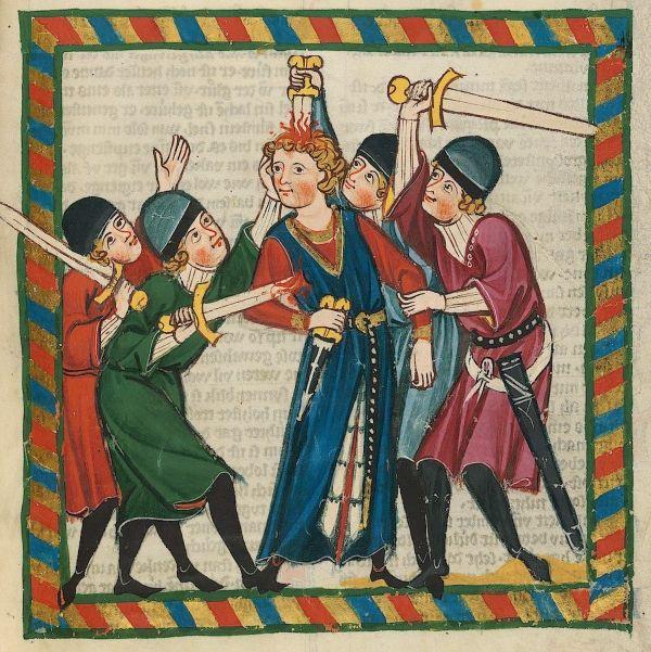 """W 983 roku atmosfera w Niemczech zrobiła się bardzo niespokojna... Powyżej ilustracja z tak zwanego """"Kodeksu Manesse""""."""