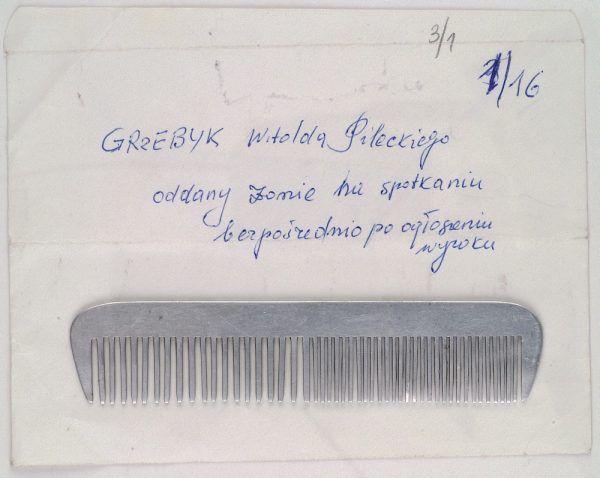 Grzebień Witolda Pileckiego oddany jego żonie krótko po ogłoszeniu wyroku śmierci (fot. archiwum prywatne Andrzeja Pileckiego).