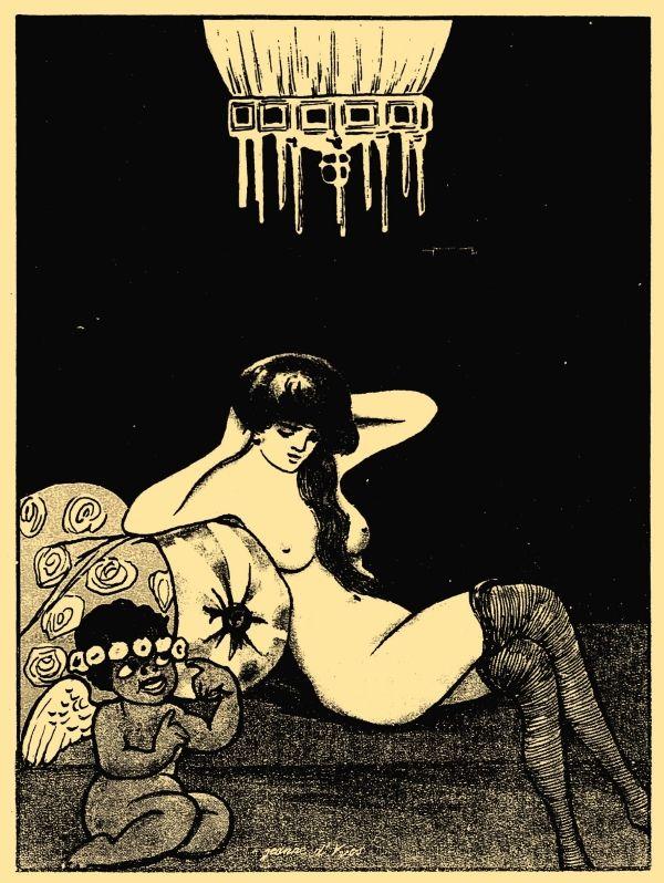 """Ilustracja z erotycznego pisma """"Amorek"""". 1925 rok."""