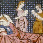 Średniowieczny poród według miniatury z XII wieku.