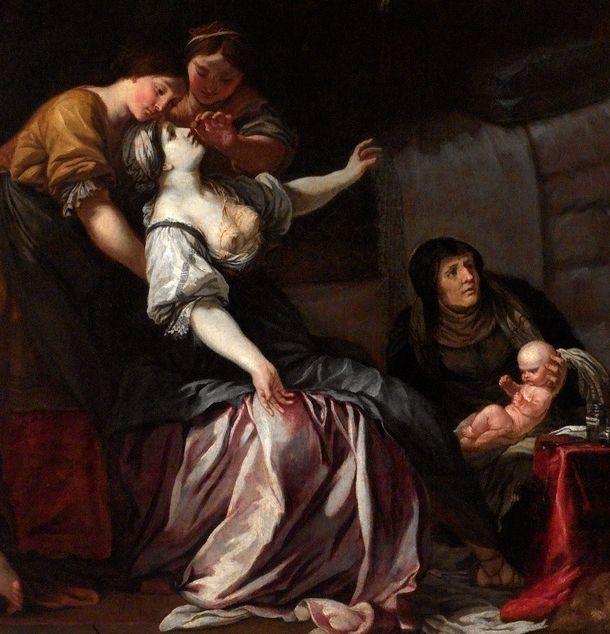 Tak dworski poród w X wieku wyobrażał sobie czeski malarz epoki baroku.