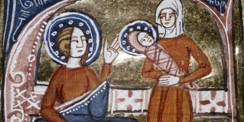 Narodziny Jana Chrzciciela według miniatury z XIV wieku. Warto zwrócić uwagę na uśmiechniętą twarz świeżo upieczonej matki i jej służącej...
