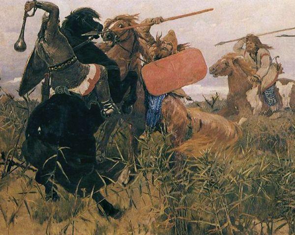 Słowianie w walce na XIX-wiecznym malowidle.