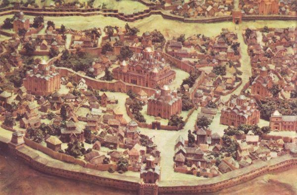 Wczesnośredniowieczny Kijów. Fragment makiety.